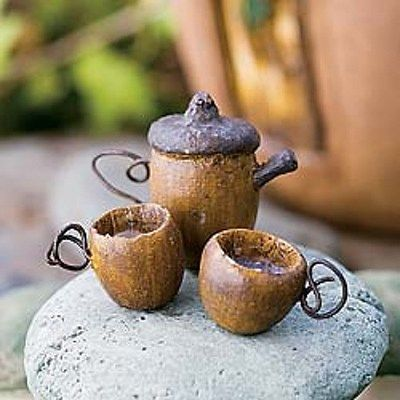 Tiny Acorn Tea Set Dollhouse Miniature Fairy Garden Faerie Gnome Hobbit | eBay