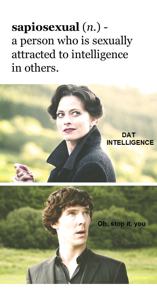 "Irene Adler and Sherlock. ""Brainy is the new sexy."""