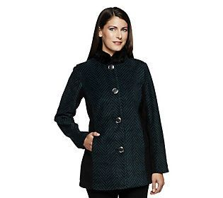 Bob Mackie's Color-Block Herringbone Coat w/ Faux Fur Collar