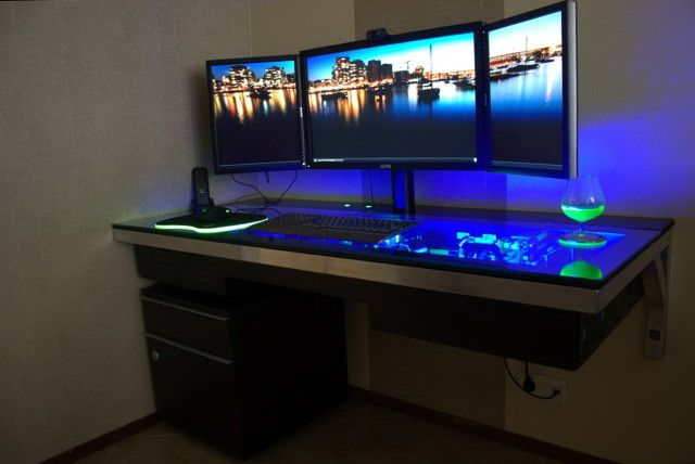 Desk Design Ideas Three Monitor Best Computer Gaming Room