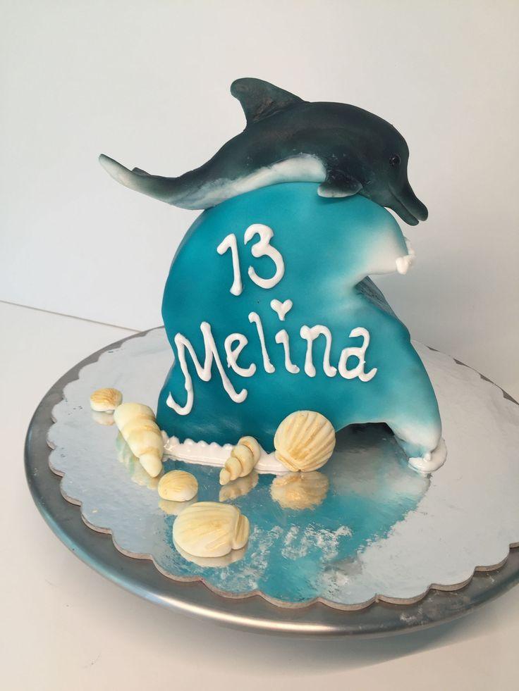 Cake, sea, dolphin, wave, Torte, Meer, Delfin, Welle, Muscheln
