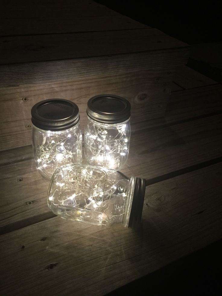 Mason jar lamps. Fairy lights, Great buy, Battery operated led lights with the smallest battery pack on the market for beautiful Mason jarsThis listing is for