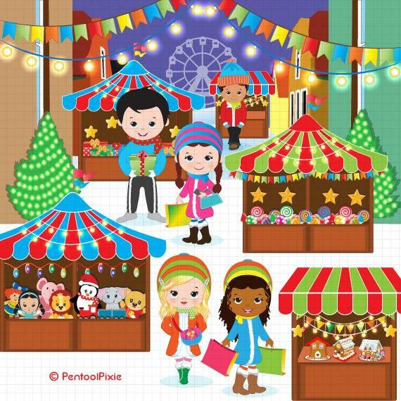 Christmas Clipart Christmas Market Clipart Winter Shopping Etsy Holiday Clipart Christmas Clipart Clip Art