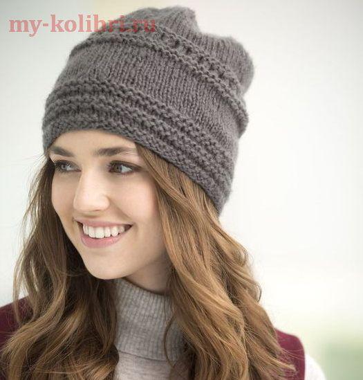 Как связать шапку спицами для начинающих платочной вязкой: описание вязания на сайте Колибри. Простая в исполнении шапочка станет настоящей находкой холодной зимой!