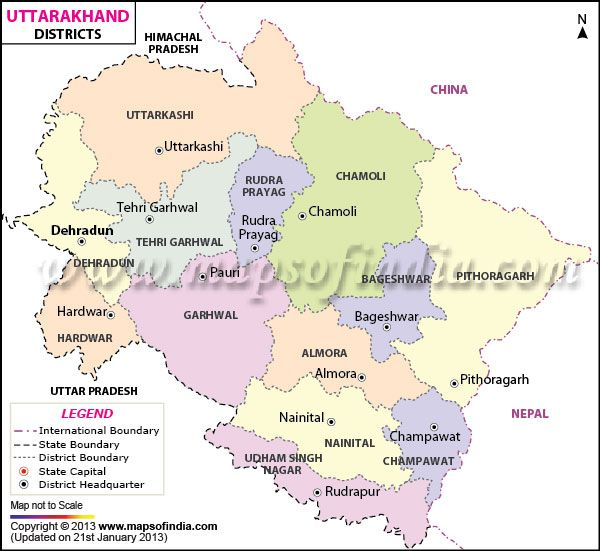 Map showing all the districts of Uttarakhand