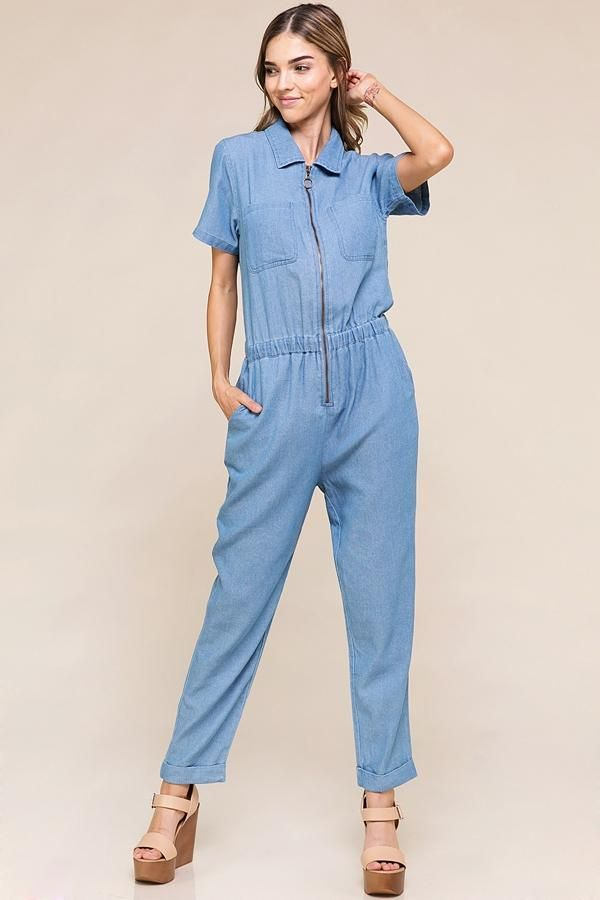 c884a4a9673 Looking for the perfect denim jumpsuit to wear to work or make the perfect  casual weekend outfit  Click to see more photos of this stylish denim  jumpsuit at ...