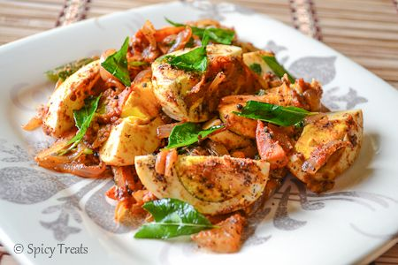 "Masala Egg Pepper Fry | • 4 Eggs • Onion 1 medium (sliced) • Tomato 1/2 medium (chopped) • Curry leaves 1 sprig • Ginger 1"" piece (crushed) • Garlic 1 clove (crushed) • Chilli powder 1 tsp • Garam masala powder 1/4 tsp • Pepper Powder 1 tsp or to taste • Cilantro few finely chopped • Salt to taste • Oil 2 tsp • Mustard seeds 1/2 tsp • Fennel seeds 1/2 tsp • Chana dal 1-2 tsp (optional)"