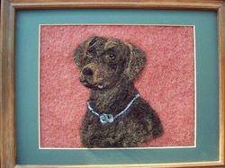 Wool art, needle felt art, wool painting, needle felted art, lavender fields, needle felted painting, needle felt, chocolate lab, custom dog portrait, portrait, dog portrait