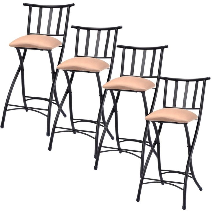 Costway Set of 4 Folding Bar Stools Bistro Pub Chair, Silver steel (Faux Leather)