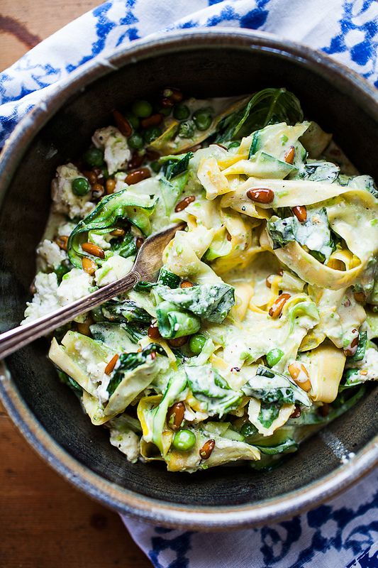 """Squash """"pasta"""" with yogurt and peas. (http://theyearinfood.com/2013/09/squash-pasta-with-yogurt-peas-and-chile-facing-that-open-space.html)"""