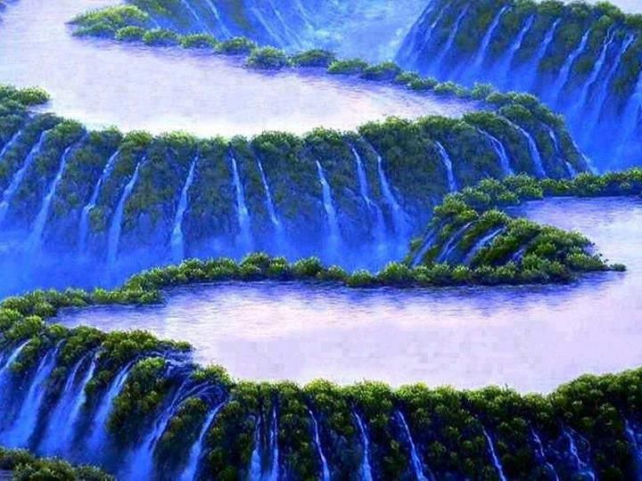 Most Beautiful Waterfall painting in the World