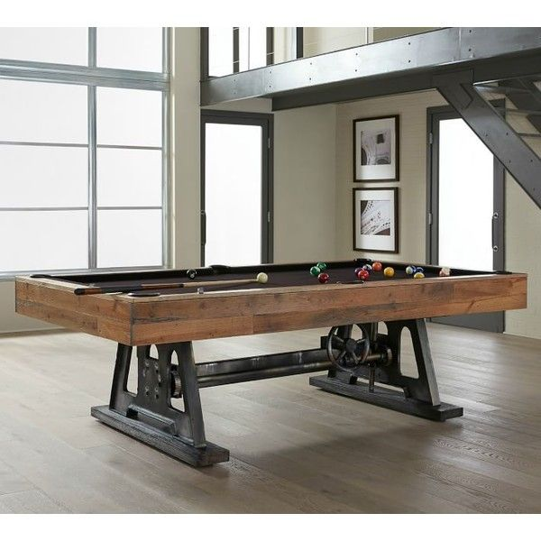Pottery Barn PB Da Vinci Pool Table ($9,699) ❤ liked on Polyvore featuring home, furniture, tables, pottery barn tables, black extension table, butterfly leaf table, pocket pool table and expandable table