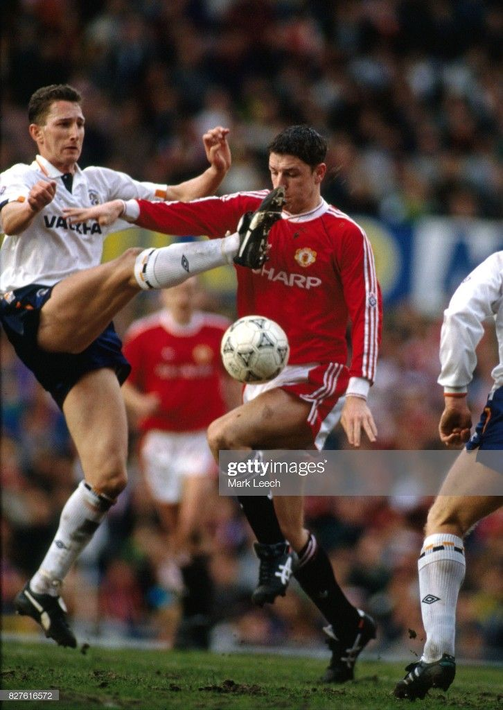 23 March 1991 Football League Division One Manchester United V Luton Town Lee Sharpe Of Manchester United Receives A High Tackle From Graham Rodger Of Luton