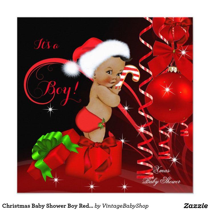 Christmas Baby Shower Boy Red Black Ethnic Invitation