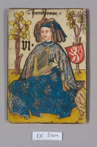 "Jungfrau [demoiselle d'honneur], Böhmen aus dem ""Hofämterspiel"" für König Ladislaus ""Postumus"" (?)"