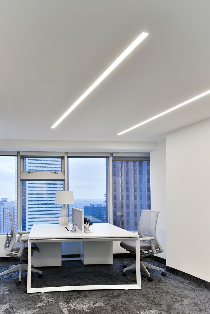 best office lighting images on pinterest  office lighting  - recessed leds add balance to this modern office  ontario canada  trulinea