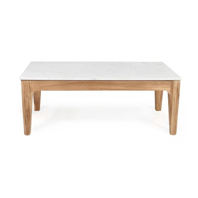 Table Basse Manguier Fonce Et Marbre Blanc B45 Bois Made In Meubles La Redoute Table Basse Table Basse Marbre Table Basse Bois Massif