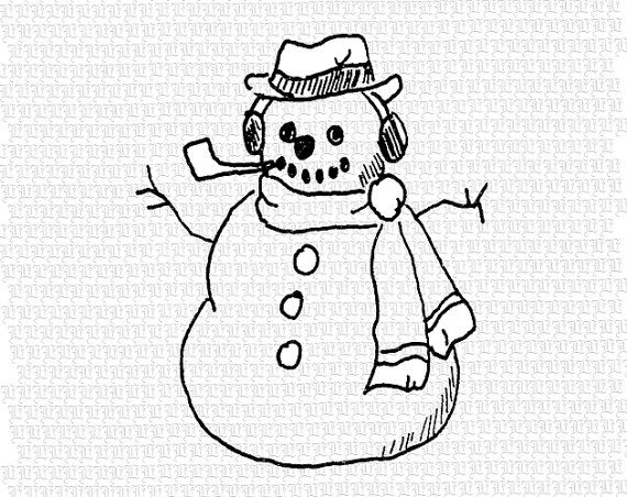Line Art Resolution : Antique image christmas snowman cartoon line drawing