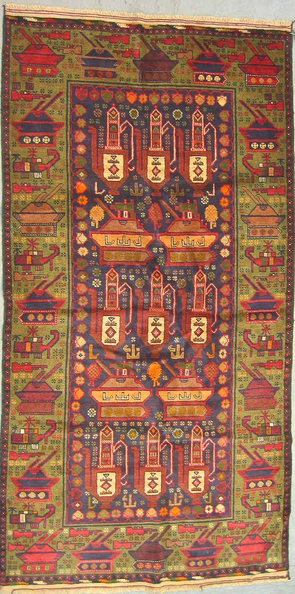 Country of Origin (estimated): Afghanistan War Rug Style: Golden Border War Rugs War Rug Ethnic Origin: Zakini