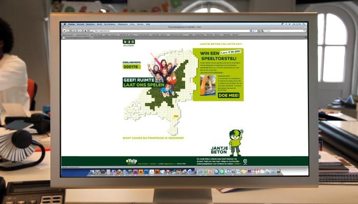 Campagnewebsite voor Jantje Beton: de bezoeker claimt zijn eigen stukje speelruimte.