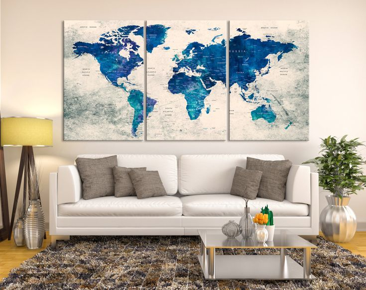 25 best push pin world map canvas images on pinterest world map watercolor push pin world map canvas print blue wall art watercolor world map canvas print gumiabroncs Images