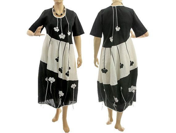 Linen maxi balloon dress black white linen black von classydress