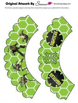 Free Printable Cupcake Wrapper Ninja Turtles, Party Decorations