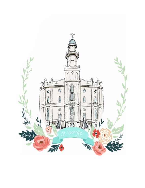 St. George Utah Temple, Latter Day Saint, LDS, mormon, Anniversary gift, Wedding present, wall art, relief society decor, flower wreath, art