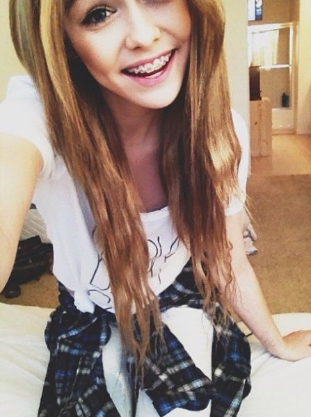 Pretty Blonde Wavy Hair With Braces Cute Smile Adorable Slender Face Flannel Around Waist