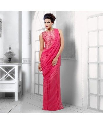 Pink Net Semi Stitched Gown #ohnineone
