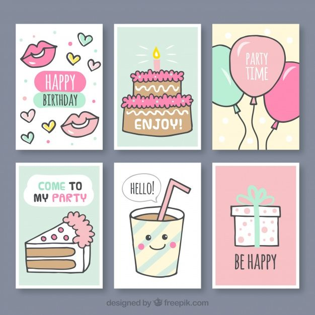 Set of hand drawn birthday cards Free Vector