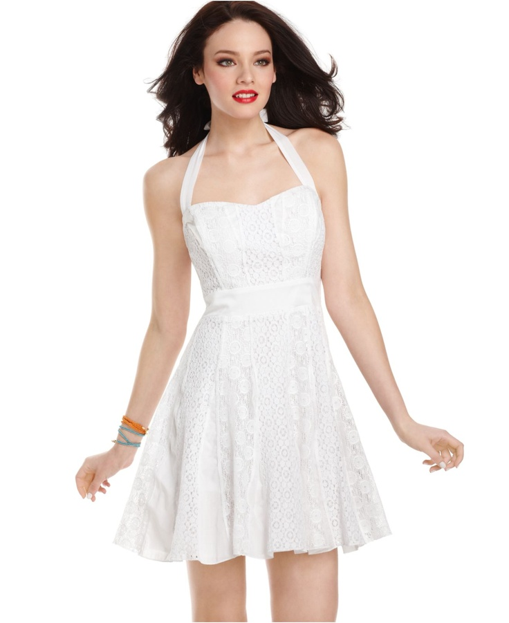 Guess dress sleeveless gia lace halter a line womens for Guess dresses for wedding