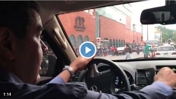 Maduro manejando por la Baralt y el hombre del helicóptero no aparece