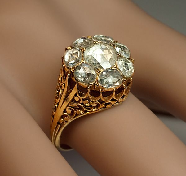 Georgian Rose Cut Diamond Cluster Ring circa 1820 - Antique Jewelry | Vintage Rings | Faberge Eggs