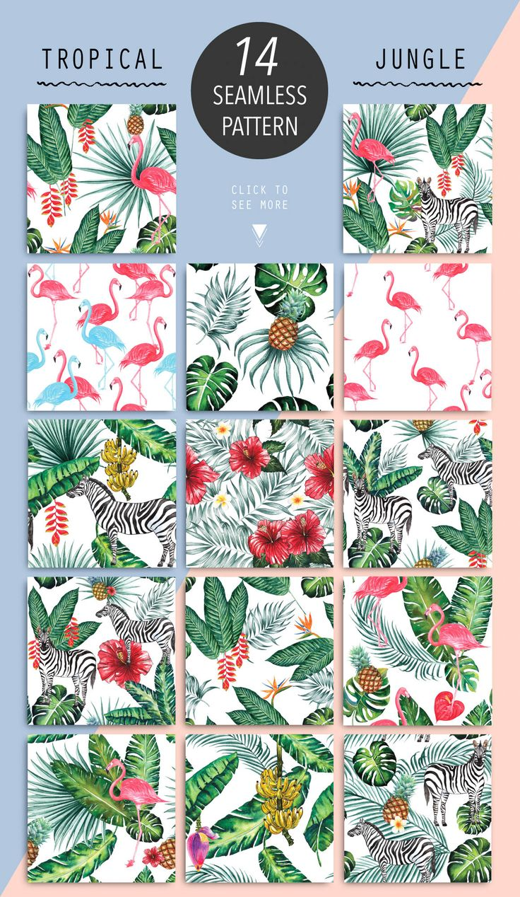 Tropical Jungle Paradise Patterns by Planolla on @creativemarket