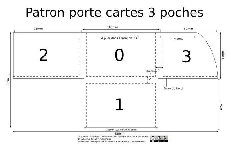 patrons maroquinerie pour un porte carte 3 poches en une seule pi ce de cuir patron libre d. Black Bedroom Furniture Sets. Home Design Ideas