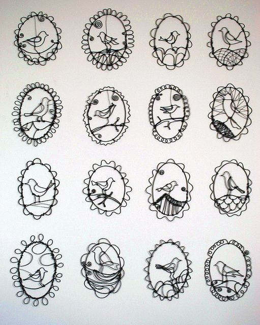 """Barbara Gilhooly  wire drawings  annealed steel wire  5"""" x 3"""" (give or take)  (c) 2012  birds by gilhooly studio, via Flickr"""