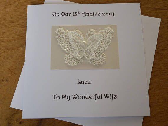 13th Anniversary Card Lace Wedding Anniversary 13 Years Etsy Anniversary Cards Wedding Anniversary Cards 13th Wedding Anniversary