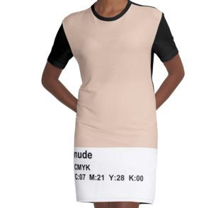 T-Shirt Dress nude pantone CMYK dress, skirt , duvet, pillow, bag, pouch, skin color