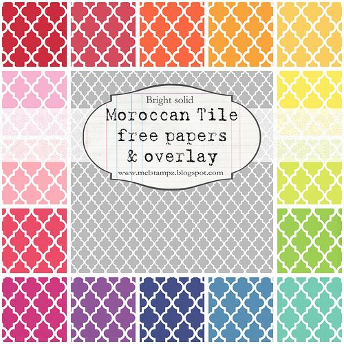 free digital paper files in every color: chevron, solid moroccan tile, moroccan tile outline, and vintage vine)