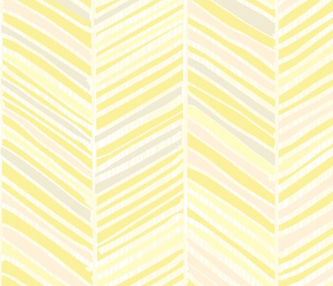Herringbone Hues Of Pastel Yellow By Friztin Fabric By