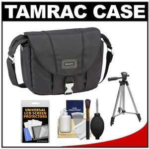 Another great product: Tamrac 5422 Aria 2 Compact DSLR / ILC Camera Shoulder Bag (Black) with Tripod + Cleaning Kit The Tamrac 5422 Aria 2 Compact DSLR / ILC Camera Shoulder Bag is made from a rich  smooth  water-resistant nylon fabric. The front flap with metal buckle closure covers the zippered main compartment while the zippered  pleated front pocket expands to hold equipment. Two slim side pockets hold accessories while an open back pocket keeps a manual handy. Fits: One