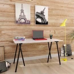 Mesa para Computador/Escrivaninha Cavalete Bells Branco/Preto - Urbe Móveis