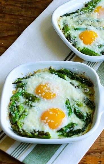 Baked Eggs and Asparagus with Parmesan. Just made this this morning... Added a bit of pepper jack instead of parm cuz that's all I had in the house. Still was delectable!