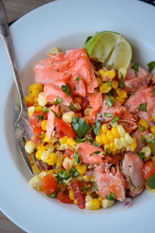Grilled Salmon and Corn Salad - This could be a great way to eat leftover salmon the next day in a cold salad (no microwave needed).