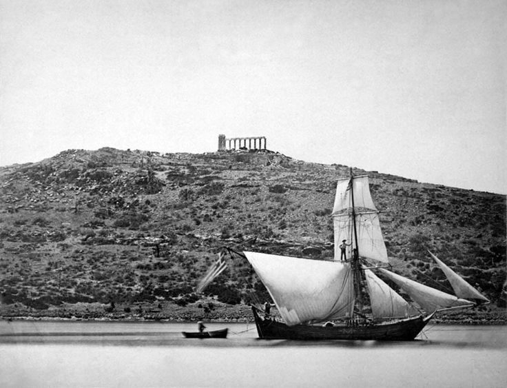 Sounio, sailing vessel , background the temple of Poseidon by Petrow Moraitis (1832.-1888)