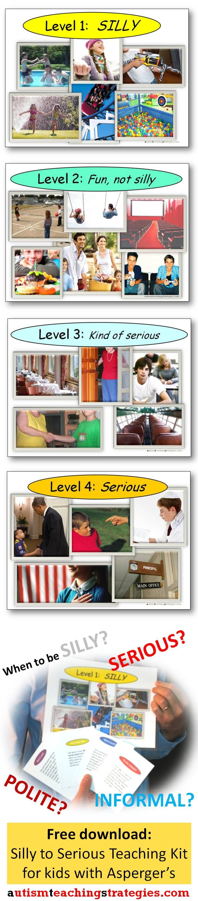 Understanding and practicing levels of formality across different social contexts can be awfully confusing to many children with Asperger's and other autism spectrum disorders.  This is a four-level visual system and created 36 cards to create a social skills teaching system that can also be used as a game.  Easy to download and print out. Free. This looks like it could be very useful!