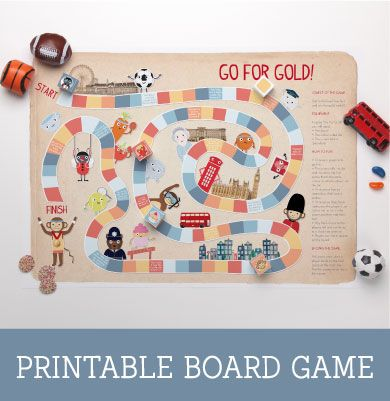 Go For Gold! Get ready for hours of fun with this colourful, sports inspired printable board game… Can you make your way to the finish line first and win the gold medal? Will you get lucky and get to skip ahead or get sent backwards? An educational, fun-filled game the whole family can enjoy.