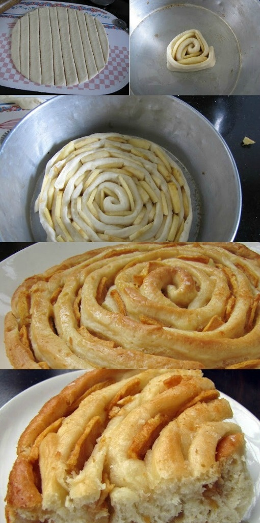 The Bewitching Spiral Apple Bread (add cinnamon and nutmeg to dough!). Link looks broken: try -http://superyummyrecipes.blogspot.com/2012/10/the-bewitching-spiral-apple-bread.html