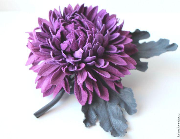 Купить Брошь-цветок из кожи Хризантема. Кожаные цветы - украшение на платье, украшение на праздник